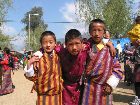 Bhutanese boys in gho